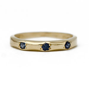 Three Stone Blue Sapphire Stackable Band